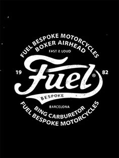 """weandthecolor: """" Fuel Motorcycles - Vintage Inspired Logo Design Bordeaux, France-based graphic studio BMD Design created a hand drawn logo design for Fuel Motorcycles, a vintage bikes preparer from Barcelona, Spain - specializing in BMW with. Vintage Logo Design, Logo Vintage, Vintage Lettering, Vintage Bikes, Vintage Graphic, Vintage Motorcycles, Custom Motorcycles, Vintage Cars, Typography Logo"""