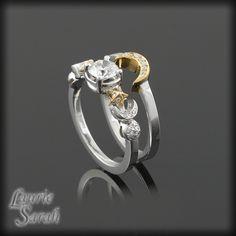 so sweet! Sun Moon and Stars Diamond Engagement Ring and Wedding Band Set - LS1561. $4,647.60, via Etsy.