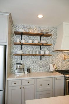 See how Chip and Jo turned a small and dated home into an open space packed with design details. Taupe Kitchen Cabinets, Kitchen Tile, Kitchen Shelves, Open Shelves, Mediterranean Kitchen Backsplash, Kitchen Reno, Kitchen Ideas, Kitchen Layout, Country Kitchen Backsplash