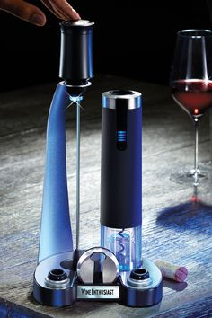 Buy the Electric Blue Pro All-In-One Automatic Wine Opener, Preserver & Electric Aerator Set at Wine Enthusiast – we are your ultimate destination for wine storage, wine accessories, gifts and more! Gifts For Wine Lovers, Wine Gifts, Modern Decanters, Electric Wine Opener, Wine Bucket, Wine Storage, Fine Wine, Electric Blue