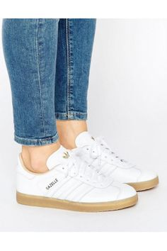 Dames Sneakers - adidas Originals Leather Gazelle Trainers With Gum Sole Adidas  Originals Gazelle 1355392adaa