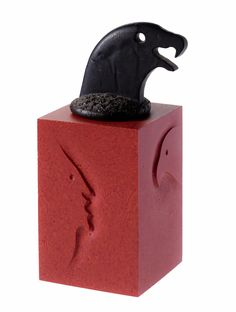 Shadow Box, sand cast red glass box with black bird's head cover: England, Hawes, Keith Brocklehurst, 1985.