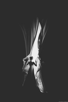 Silhouette, black and white, high contrast, drapes,