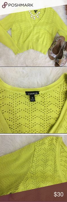 """Torrid Crochet Eyelet Cropped cardigan Super fun color to add some pop to your Spring Wardrobe. Thin Eyelet cardigan is perfect with a camisole, tank, or dress! Neon lime green (kinda yellowish green)! Long sleeves, but could be rolled.  Size 0 ( 0X )  Pit to pit 21"""" Shoulder to hem 19""""  87% cotton 13% nylon  used but still adorable!  Has minor pilling all over, but can easily be shaved to look good as new! torrid Sweaters Cardigans"""