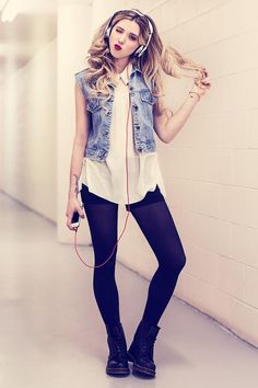 Get this look (vest, blouse, shorts, tights, boots) http://kalei.do/WdOazyMh7Q3v36ni