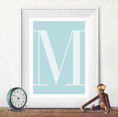 Blue Letter M wall art baby boy nursery von TheLittlePosterShop