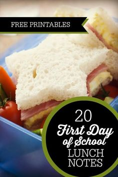 Free First Day of School Printable Lunch Notes