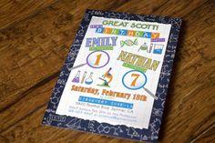 Custom science themed birthday invitation, joint birthday, discovery museum, orange, green, gray, purple - Alex Tebow Designs