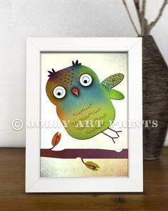 Bild EULE - Kinderbild Bild Kinderzimmer Print Druck - ein Designerstück von JollyArtPrints bei DaWanda