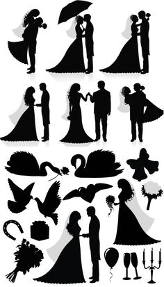 Silhouette newlyweds with swans, doves, wedding attributes, bouquet of flowers, gift box, candle, balloon, bells, doves, swans, hearts with wings. Free download.