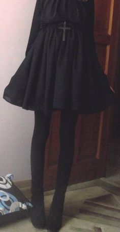 all black everything. I want to say this is lolita. cute though.