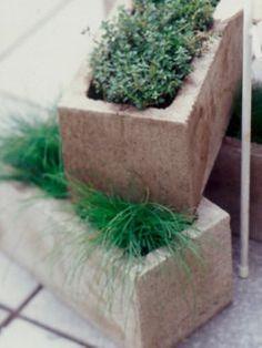cinderblock flowerpots