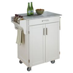 Home Styles Cuisine Cart in White Finish with Marble Top - transitional - kitchen islands and kitchen carts - by Cymax Vintage Bar Carts, Butcher Block Countertops, Transitional Kitchen, Dream Decor, Kitchen Colors, My New Room, Wood Construction, Marble Top, House Rooms