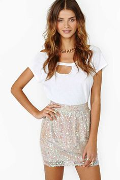 Glow On Sequin Skirt