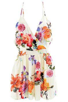 Floral Stylish Surplice Front Romper - OASAP.com