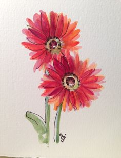 Gerber Daisy Watercolor Card by gardenblooms on Etsy, $4.00