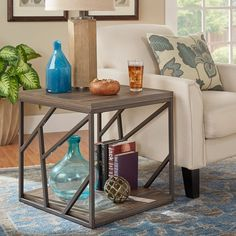 Lincoln Metal Contemporary Distressed Wood Coffee Table or Side Table by iNSPIRE Q Classic   Overstock.com Shopping - The Best Deals on Coffee, Sofa & End Tables