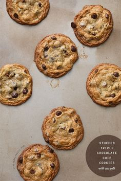 stuffed triple chocolate chip cookies with sea salt