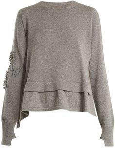 BARRIE Crew-neck embellished cashmere sweater