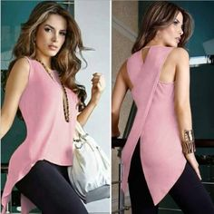 Women Sleeveless Round Neck Slim Fit Irregular Patchwork Blouse Vest Tank Tops solid color shirts | Wish Blouses For Women, T Shirts For Women, Ladies Blouses, Black M, Yellow Black, Backless Top, Plus Size Shirts, Summer Blouses, Types Of Sleeves