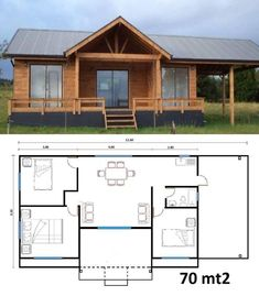 Enlarge the one small bath room, perhaps enlarge the kitchen & why are there no closets? Little House Plans, Barn House Plans, Bedroom House Plans, Small House Plans, Little Houses, House Floor Plans, Thai House, Tiny House Cabin, Cottage Plan