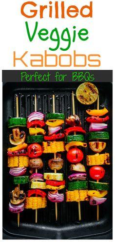 Grilled Veggie Kabobs, Grilled Vegetable Recipes, Veggie Skewers, Grilled Vegetables, Veggies, Vegan Kabobs, Vegan Bbq Recipes, Grilling Recipes, Whole Food Recipes
