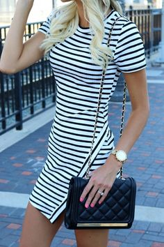Striped Dress + Aldo Purse