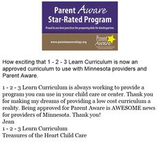 1 - 2 - 3 Learn Curriculum is excited that it is now on the approved curriculum for Parent Aware.