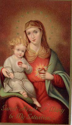 holy card sweet heart of mary