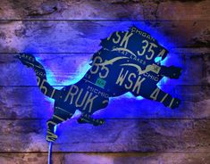 Giant Detroit Lions Great Lakes Michigan License by LicenseToCraft