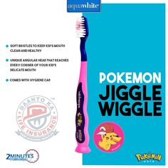 Your kid's favourite cartoon character on aquawhite Pokemon Jiggle Wiggle Toothbrush will prompt them to brush 2 times everyday.