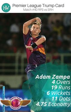Adam Zampa's 6-fer could not lead the Rising Pune Supergiants to victory but his bowling was lauded by everyone. He is our Trump Card Player for #RPSvSRH! #IPL #IPL2016 #cricket #RPS