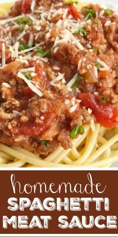 Homemade Spaghetti Meat Sauce | Spaghetti | Pasta Recipe | Ditch the canned spaghetti sauce for this flavorful, beefy, homemade spaghetti meat sauce. Only takes a few minutes to prepare and then let it simmer for amazing flavor. Serve over pasta noodles with some garlic bread for a delicious dinner that will please everyone. #dinner #pasta #easydinnerrecipe #spaghetti