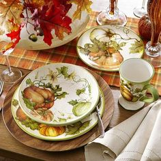 Thanksgiving Dinnerware and Entertaining Pieces Fall Table Settings, Thanksgiving Table Settings, Beautiful Table Settings, Holiday Tables, Place Settings, Thanksgiving Tablescapes, Thanksgiving Ideas, Thanksgiving Dinnerware, Fall Harvest Decorations