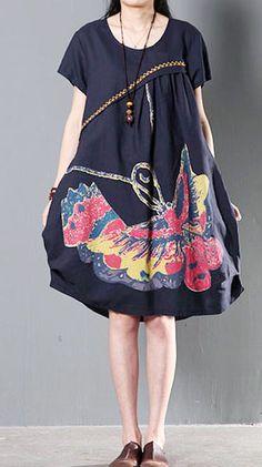 Flying butterfly print navy linen sundress plus size shift dresses summer new  design. TubiniAbiti EstiviAbiti ... 1f4e6ad3def