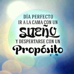 Día perfecto: ir a la cama con un sueño y despertarse con un propósito (pineado por @PabloCoraje) #Citas #Frases #Quotes