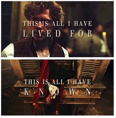 Enjolras - I honestly loved this scene because he died for what he believed in. He stood up and took it.