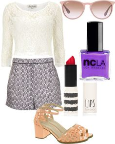 Untitled #33 by gabrielleaplin-style featuring ncla nail polishDorothy Perkins lace top, $25 / Topshop  / ASOS , $35 / Ray-Ban ray ban glasses / Topshop  / ncLA  nail polish