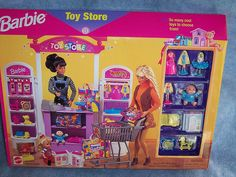 """1998 Barbie """"K*B Toys"""" (KB Toys) Toy Store Playset - (yellow car on left side of box window) - K B Toy Store Exclusive - Mattel - NEW Barbie 1990, Barbie Sets, Mattel Barbie, Barbie Dream, Barbie House, Vintage Barbie, Barbie Store, Barbie Playsets, Childhood Toys"""