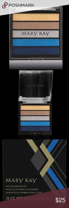 """NEW! Limited-Edition† Mary Kay® Eye Color Palette The NEW limited-edition† Mary Kay® Eye Color Palette is part of the Runway Bold Collection from Mary Kay. The palette features five """"Rock the Runway"""" shades: gold, bronze, silver, blue and navy. Mix and match to eye-catching effect. These stay-true shadows are a smudgeproof solution for busy beauties. Fade- and crease-resistant. Lightweight. Suitable for any skin type. Mary Kay Makeup Eyeshadow"""