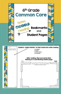 """6th Grade Common Core """"Notes While Reading"""" Bookmarks and Student Pages $"""