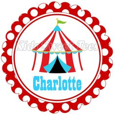 polka dot circus tent - personalized - digital image - birthday on Etsy, $2.50