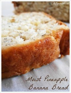 Moist Pineapple Banana Bread Verdict: tasty. I used coconut butter in place of flaked coconut and made muffins instead of a loaf.