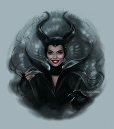Angelina Jolie [as Maleficent feat. Diaval] (Celebs As Disney by Daekazu @deviantART) #Maleficent
