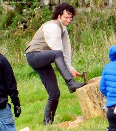 That's it Aidan, put a bit of wellie into it! This is what can happen when you wield an axe as hard and fast, as Aidan did, it gets stuck into the wooden stump so tightly, it can be tough to pull it back out!!  Oh and I just heard more news about another Poldark filming location, next month, outside The Crown in Wells market place, Somerset.
