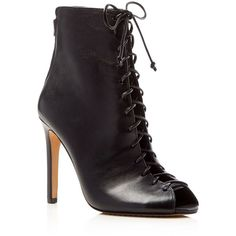 Vince Camuto Kelby Lace Up Peep Toe High Heel Booties ($165) ❤ liked on Polyvore featuring shoes, boots, ankle booties, black, high heel stilettos, leather booties, black ankle booties, lace up high heel booties and leather peep toe booties