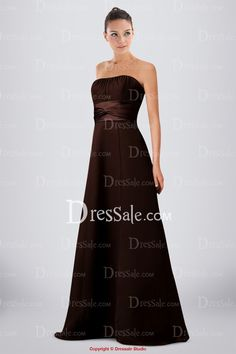 Simple Satin Strapless A-line Bridesmaid Dress in Delicate Ruches Detail