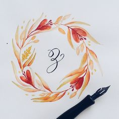 Calligrafikas — The last & final entry to complete my alphabet. Wreath Watercolor, Watercolor Cards, Watercolor Flowers, Watercolor Paintings, Watercolour, Calligraphy Letters, Painting & Drawing, Art Projects, Sketches
