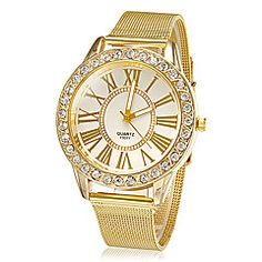Women's Watch Fashion Diamante Golden Band – GBP £ 5.10