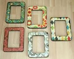 Decoupage picture frame with scrapbook paper